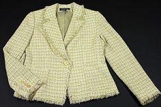 New York & Company Blazer Jacket Womens Size 10 Green White Beige with Fringes