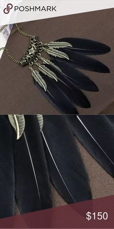 """..coming soon 🆕BLACK FEATHER TRIBAL NECKLACE Make a statement! Polish of a look with with necklace. 24"""" Length. 2.5"""" Feathers. Black. Day to Nightlife. Enjoy! -No trades. 51twenty Jewelry Necklaces"""