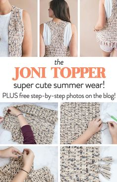 This Joni topper is so fun and easy to make! It's also light and breathable to get you through these hot summer months! #crochet #diy #freepattern #crochetvest #crochettop #beginner