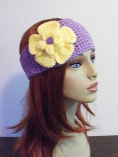 Adjustable Headband/Earwarmer with Flower  Lilac by BeyondCrochet
