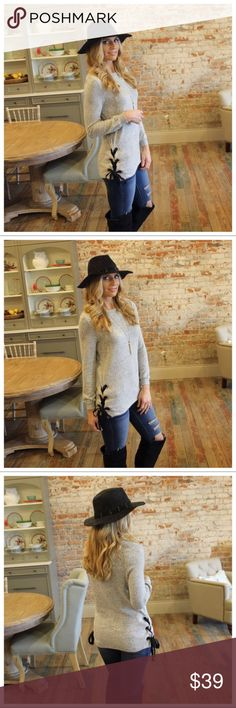"""Heather Gray Side lace up hacci knit tunic Heather Gray  Side lace up hacci knit tunic  Modeling size small.  Super soft and comfy. Lace up grommet sides.   77% rayon 21% polyester 2% spandex.   Bust pit to pit laying flat: S 19"""" M 20"""" L 21""""  Length S 28"""" M 29"""" L 30"""".  Add to bundle to save when purchasing. IRS7751222.IT9183 boutique Tops Tunics"""