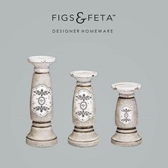 Our exclusive Figs & Feta Concrete and Crackled Candlestick Holders…with or without candles!