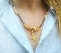 Starfish Necklace, Starfish Pendant, Woman Beach Jewelry, Sea Charm Necklace, Surfer Jewelry, Women Starfish Jewelry, Sea Star Necklace by myera4u. Explore more products on http://myera4u.etsy.com