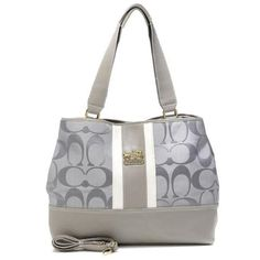 Discount Coach Hamptons Weekend Signature Stripe Large Grey Totes AEY Clearance