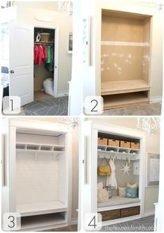 "Fab idea for creating more accessible space as well as adding visual interest to a hallway or foyer. Be sure to not leave out the storage bind as they help hide the necessary ""clutter"" that gathers in these spaces. Also think about shoes going into those bottom bins as they will scuff up so make sure these bins are a dark color to not show wear."