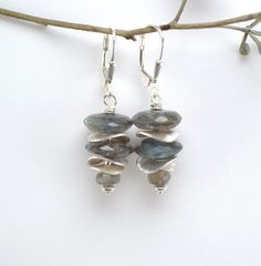 Labradorite Earrings Sterling Silver Earrings by DesignbyNeringa