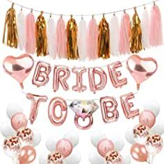 Bachelorette Party Decorations Bridal Shower balloons Kit Includes:Bride To Be Balloons Banner +Diamond Ring Balloons+Heart Foil Balloons+Paper Tassels Party Garland+Rose Gold Confetti Balloons Gold Confetti Balloons, Mylar Balloons, Latex Balloons, Bachelorette Party Decorations, Bridal Shower Decorations, Balloon Decorations, Bride To Be Balloons, Or Rose, Rose Gold