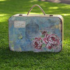 Floral Vintage Style Suitcase Storage Box