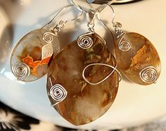 Jewelry set with ear-rings and pendant jewelry set with faceted rutilated quartz gemstones, spiral silver wire shapes, OOAK