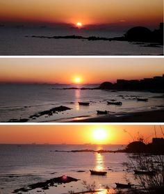 The sun rises magical scene.