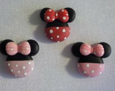 Minnie mouse. Clay Charm Bead, Scrapbooking, Bow Center, Pendant, Cupcake topper, Magnet