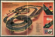 All-Time 100 Greatest Toys. They don't make toys like the Johnny Seven O. (One-Man Army) Gun anymore Slot Car Sets, Ho Slot Cars, Slot Car Racing, Slot Car Tracks, Electric Train, Matchbox Cars, Childhood Toys, 90s Kids, Courses
