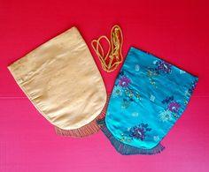 Pair Vintage Oriental Asian Kimono Cloth Drawstring Bags Pouches Beaded Fringed