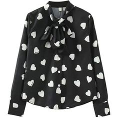 Black Stylish Ladies Long Sleeve Lace Up Bow Heart Printed Blouse ($28) ❤ liked on Polyvore featuring tops, blouses, shirts, lace up shirt, lace up long sleeve top, long sleeve bow blouse, lace up blouse and heart blouse