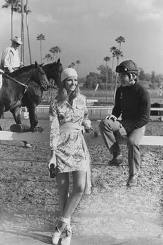 Cheryl Tiegs in a shirtdress by Lilly Pulitzer at the Santa Anita race track. Photographed by Henry Clarke, May 1971.