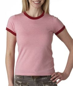 The perfect blend of fabrics makes this cute fashion tee one to wear again and again. The design features contrast ringer binding on sleeves and neckline. Made of 4.2-ounce, 30-single 52% combed and ring-spun cotton/48% polyester.