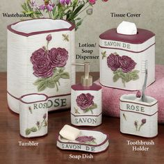 Savon de rose french style bath accessories for Black crackle bathroom accessories