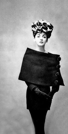 Model in a Balenciaga sheath dress, 1956, photo by Georges Saad