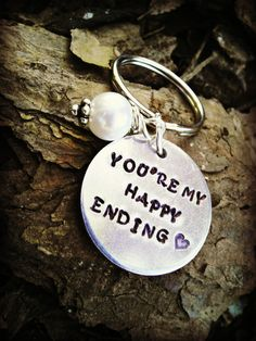 You're my happy ending Hand stamped Keychain by CharmletteDesigns, $24.00