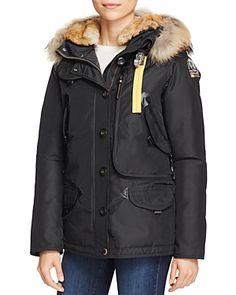 Doris Mixed Fur Trim Down Coat, Black