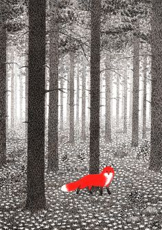 This illustration uses one colour over black and white well. I love how long the forest seems to go on for.