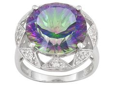 Mystic Topaz (R) 8.70ct Round And .33ctw Round White Topaz Sterling Silver Ring Erv $106.00