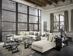Loft style living room ideas decorating a loft ng room loft furniture layout ideas open plan bedroom and on home small home interior decoration ideas New Yorker Loft, Living Room Designs, Living Spaces, Living Rooms, Living Area, Chicago Lofts, Chicago Apartment, Chicago Chicago, Chicago Illinois