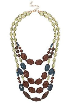 Layered facet bead statement necklace (original price, $16) available at #Maurices