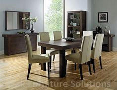 Walnut 'Akita' large extending table & six taper back brown upholstered chairs - Tables & chairs - Furniture - Home & furniture - Extendable Dining Table, Dining Table Chairs, Upholstered Dining Chairs, Walnut Furniture, Rustic Furniture, Leather Furniture, Vintage Furniture, Cheap Dining Sets, Bentley Design