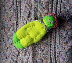 Lavender Filled Sachet Handmade Sock Doll OOAK Green w/Pink Hat Blue Eyes #Pedricks
