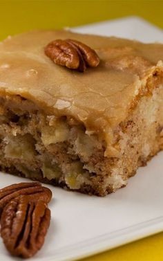 Fresh Apple Cake Recipe - 1 c vegetable oil 2 c sugar 3 eggs 3 c flour 1 tsp baking soda 2 tsp vanilla extract 1 c chopped pecans 3 c peeled and chopped apples Combine all ingredients, bake for 50 min Frosting - c butter 1 c brown sugar, packed c e Fresh Apple Cake, Fresh Apples, Apple Pie, Healthy Apple Desserts, Health Desserts, Apple Cake Recipes, Baking Recipes, Apple Cakes, Cookie Recipes