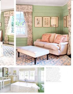 Veronique Swing Arm Floor Lamp as seen in May 2015 Traditional Home. Designer: Louse Voyazis. Project: Hudson.