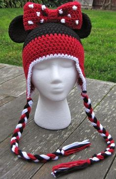 Crochet Beanie Ideas Minnie Mouse Ears Stripe Hat baby-adult by Lizzziee, image 1 - Bonnet Crochet, Crochet Cap, Cute Crochet, Crochet Crafts, Crochet Projects, Scarf Crochet, Crochet Kids Hats, Crochet Beanie Hat, Knitted Hats