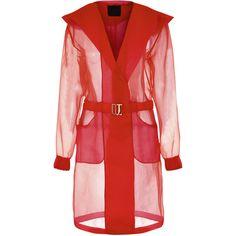 La Perla Esprit D'atelier Parka-Style Jacket (13.905 ARS) ❤ liked on Polyvore featuring outerwear, jackets, coats & jackets, red, logo jackets, metallic jacket, red parkas, red jacket and parka jacket