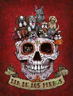 Dia De Los Perros by David Lozeau Dogs on Sugar Skull Canvas Art Print