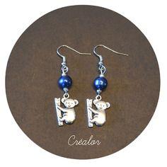 Boucles d'oreilles koala et  perle de verre bleue nuit