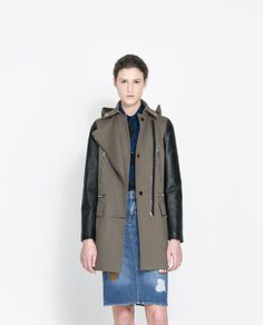 Image 2 of COAT WITH LEATHER SLEEVES from Zara
