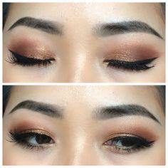 Makeup for Asian eyes. Soft copper eyes