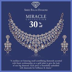 A necklace set featuring scintillating diamonds on gold plate. Filigree Jewelry, Gold Jewellery Design, Diamond Jewelry, Diamond Necklace Simple, Small Necklace, Gold Bangles For Women, Chanel Pearls, Jewelries, Necklace Designs