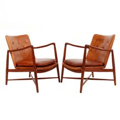 Pair of Finn Juhl Chairs for Bovirke, 1946 | From a unique collection of antique and modern lounge chairs at https://www.1stdibs.com/furniture/seating/lounge-chairs/