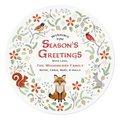 Woodland Wreath / Ornament Christmas Photo Card — Charming woodland animals (squirrel, snow bunny, cardinal, partridge bird, and a red fox) with snowflakes, flowers, pinecones, and holly. Room on the back for your family photo or remove it for additional text. Season's Greetings! Original Illustration by pj_design.