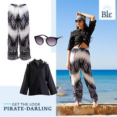 In fond of the eccentric charm of pirates? Twist your shirt above the belt area, go for long & loose pants and tie your favourite scarf around your head. Aye-aye captain!  Get the look here www.ble-shop.com Loose Pants, Eccentric, Get The Look, Pirates, Sequin Skirt, Sequins, Belt, Tie, Skirts