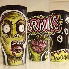 Halloween, Halloween, everyone in your office loves #Halloween! #drink #coffee #zombie by @sewzinski #custom #made_to_order #gifts #handmade #illustration #design #zombie_apocolypse #walking_dead #walkingdead