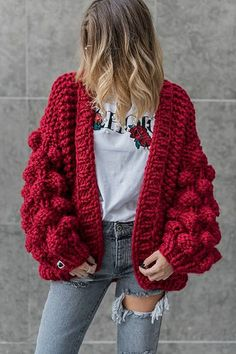 Oversized Chunky Thick Cable Knit Cardigan Sweater Obsessed with this womens chunky knit cardigan, nice red crochet sweaters open front baggy knitted sweater oversized cable loose sweater Womens Chunky Knit Cardigan, Oversized Knit Cardigan, Crochet Cardigan, Loose Sweater, Pom Pom Sweater, Slouchy Cardigan, Cable Cardigan, Chunky Crochet, Knit Crochet