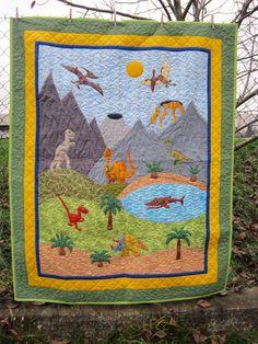Hand Made by Vave: patchwork: Údolí dinosaurů - deka pro Kubíka