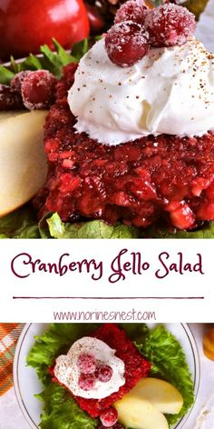 Fresh Cranberries and Apples are mixed with chopped walnuts and added to cranberry jello topped off with vanilla nutmeg whipped cream for the perfect holiday salad.