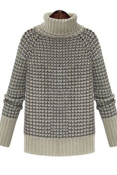 Grey Long Sleeve High Neck Sweater