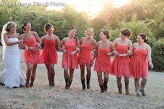 Dark Coral Bridesmaid Dresses | Above >> coral sweetheart bridesmaid dresses with cowboy boots. Photo ...
