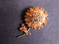 Champgne Colored Gustave Sherman Flower w/ Raised Effect Floral Brooch Sherman Swarovski 3 Colored Crystal 2 Vintage Broach Vintage Costume Jewelry, Vintage Costumes, Vintage Jewelry, Shell Ornaments, Champagne Color, Vintage Brooches, Topaz, Swarovski Crystals, Vintage Items