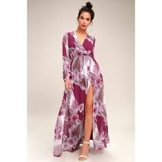 Lulus  Wondrous Water Lilies Magenta Floral Print Maxi Wrap Day Dress ($92) ❤ liked on Polyvore featuring dresses, purple, maxi dresses, fitted maxi skirt, purple maxi skirt, wrap maxi skirt and wrap maxi dresses